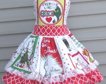 Ready to Ship Custom Boutique Grinch Christmas Holiday Whoville Girl Dress Size 6 / 7