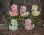 SET OF FIVE Quilt Top Primitive Easter Peeps Ducks Tucks Spring Bowl Fillers Ornies