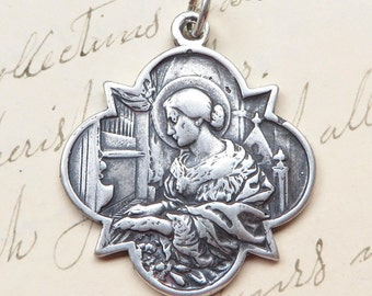 Sterling Silver St Cecilia Medal - Patrons of girls, musicians, poets, engaged couples