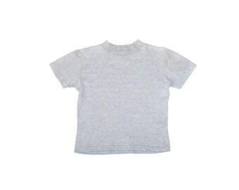 boxy grey mock turtleneck t-shirt 90s vintage minimalist heather grey mock neck crop top small
