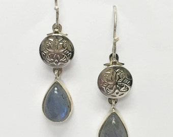Labradorite Medallion Earrings