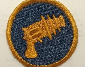 Steampunk Spaceship Ray Gun Iron On Badge or Patch