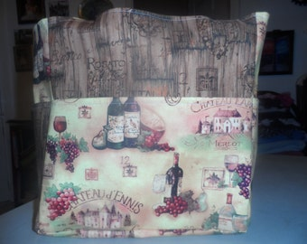 wine bottles glasses brown grapes tote bag/purse/ diaper bag