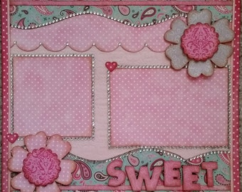 Premade Single 12 x 12 Page Layout Scrapbook Page Little Girl SWEET