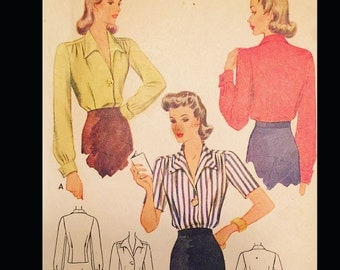 Vintage 40s Button Front Gathered Bishop Sleeve Wing Collar Blouse Sewing Pattern 4327 B32