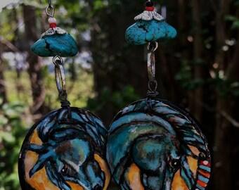 Blue Horse Earrings Southwest or Western Cowgirl Jewelry