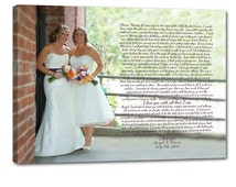SALE Black Friday Gay Wedding Marriage Gift Union LGBT Vows or Lyrics Art Personalized Art Typography and Photo on Canvas 18X24