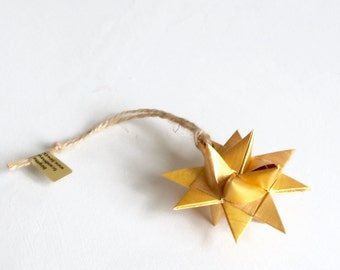 Star x1, Ornament, gold, handmade, hand painted, 3D Froebel Moravian, Christmas, Scandinavian decor