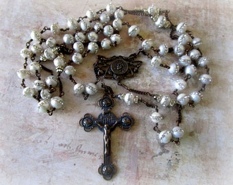 Wire-Wrapped Heirloom Freshwater Pearl and Crystal Rosary