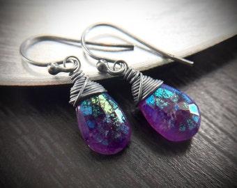 Statement Bold Modern Amethyst Purple Oxidized Sterling Silver Earrings Gift for women, sister, mom, aunt, girlfriend, wife