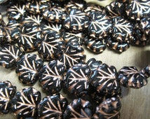 20 Black with Copper Detail Czech Pressed Glass Maple Leaf Beads 10 x 13mm