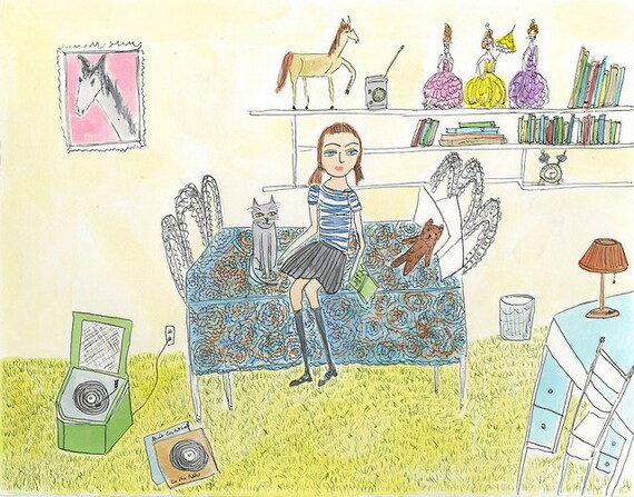 Carla in her bedroom, fall of 1979, before she grew up and became a complete disappointment to her parents.  Print by Vivienne Strauss.