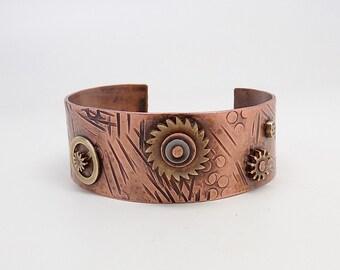 SALE...Steampunk jewelry. copper cuff bracelet