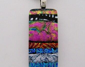 Dichroic glass jewelry pendant