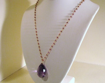 Huge 89 Carat Purple Amethyst Pendant Necklace w/ Garnets Hand Wire Wrapped Solid 14K Gold
