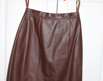 VINTAGE brown leather mini skirt - size 8 - small - fully lined