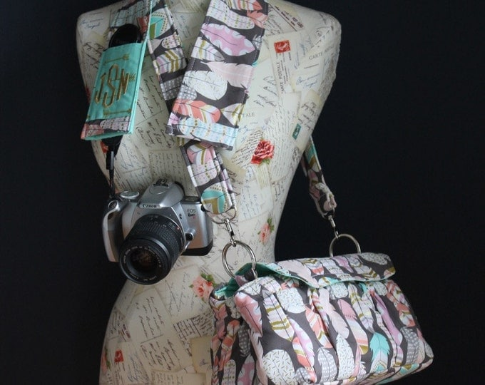Metallic Feather and Arrows Digital Padded Camera Bag with Camera Strap Cover by Watermelon Wishes