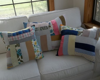 Set 3 Vintage Quilt Pillows Handmade Pillows Antique Quilt Pillows Porch Pillows Primitive Bedding Patriotic Pillows French Country Prairie
