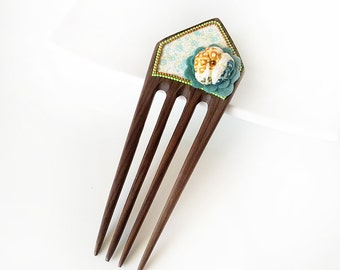 Wooden Hair Comb - Statement comb, decorated wooden comb, silk Japanese kimono puffy flower, felt flower - floral, teal, aqua, copper