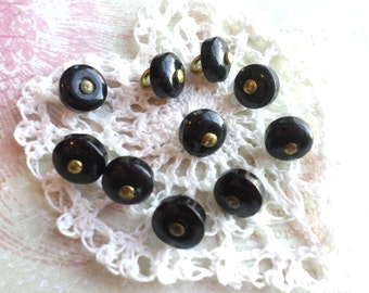 10 Small BLACK Vintage SHANK Buttons