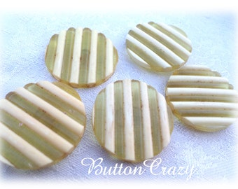 5 Yellow Tan Striped Shank Buttons