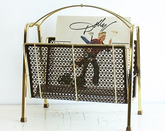Vintage magazine rack - metal - dark gold - gold tone - retro - W shape - brown