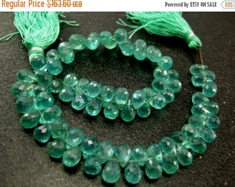 55% OFF SALE Full 8 inches - Caribbean Waters Natural Apatite Faceted Drop Briolettes Size 7x4 to 8x5mm approx.