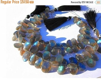 55% OFF SALE 1/2 Strand Sparkling Blue Flashy Labradorite Faceted Pear Briolettes Size 11x8 - 10x8mm approx