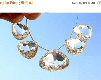55% OFF SALE 5 Large Focals of Eye Clean Rock Crystal Quartz Faceted Heart Shaped Briolette Size 16x16mm - 20x20mm approx