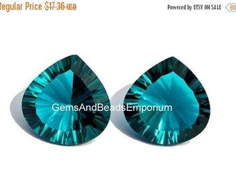 55% OFF SALE 2Pcs 1 Match Pair AAA Teal Blue Quartz Concave Cut Heart Briolettes Size 15x15mm Concave Cut Gems (Choose The Drill Hole)