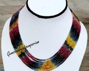 55% OFF SALE 8 Strands Necklace AAA Natural Multi Sapphire Smooth Rondelle Beads - Precious Stone Necklace - Multi Strand Necklace