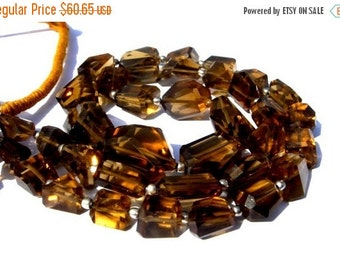 50% Off Valentine day 8 Inches - Genuine AAA Cognac Whiskey Quartz Step Cut  Faceted Nuggets Size 7x5 - 16x13mm Approx Finest Quality Wholes