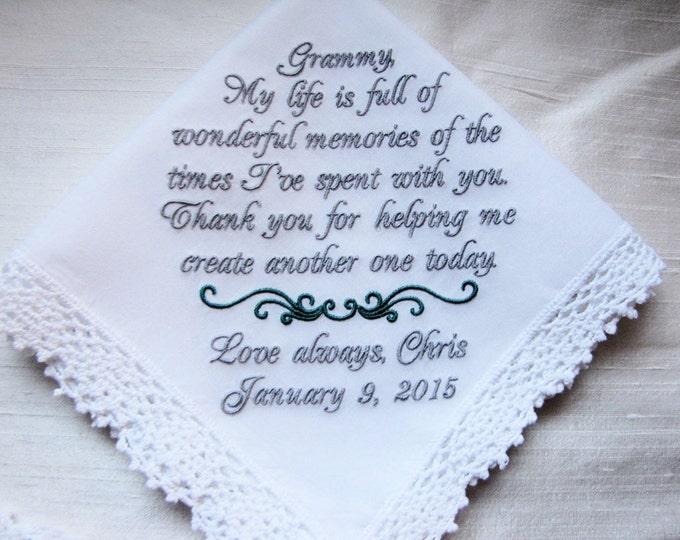 Grandmother from Bride Wedding Handkerchief, embroidered wedding handkerchief, Personalized Grandmother Hankie, Parent Gifts, Grandma Hankie