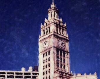 Wrigley Building - Polaroid SX-70 Manipulation - 8x8 Fine Art Photograph, Wall Decor