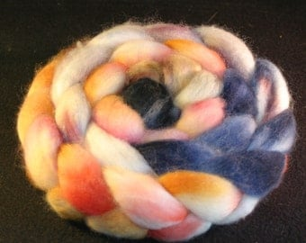 Combed Top / Roving Spinning Fiber Superwash Blue Faced Leciester Wool & Nylon Sock Blend 85/15% - Head over Heels - 4 Ounces