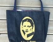 Tote bag, Julia de Burgos, Puerto Rican Poet, Denim Tote, Ready to Ship