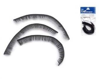 Black doll eyelashes 5 3/4 inch Plastic Eye lashes Knit Crochet Doll Craft P696 fnt