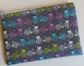 Small pouch in bicycle print