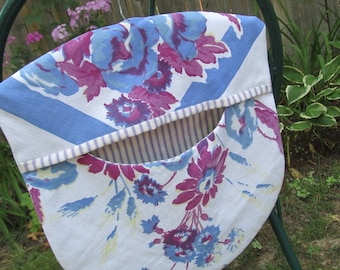 Clothes Pin Peg Bag - Repurposed Vintage Retro Tablecloth & Wood Hanger Blue Purple Floral- Shabby Prairie Cottage