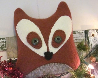 Wool FOX Penny Rug Embroidered Pillow