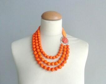 orange statement necklace, wedding necklace multi strand chunky necklace