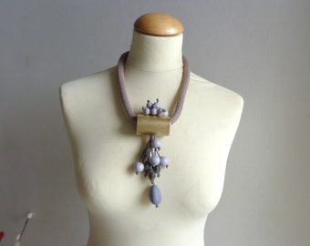 Chunky statement gray necklace rope necklace