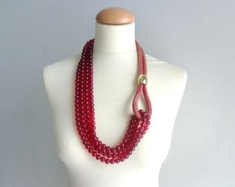 Burgundi red Statement necklace longer style