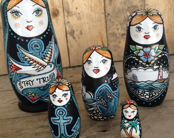 Stay True, Nautical Russian Dolls. 5 piece set of nesting dolls. Painted by hand.