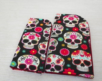 Floral and Paisley Sugar Skulls on Black or Gray Slide in Sunglass or Eyeglass Case Choose Your Size and Print