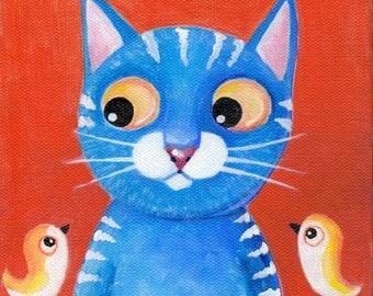 "Curiosity Times Two original acrylic painting on canvas 6""x6"" ElaineCoxArt"