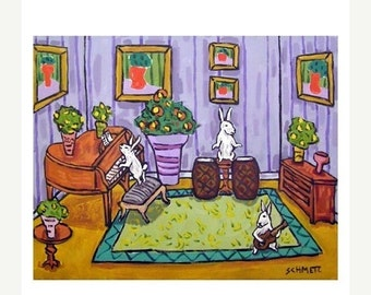 ON SALE The Bunny Rabbit Trio Animal Art Print