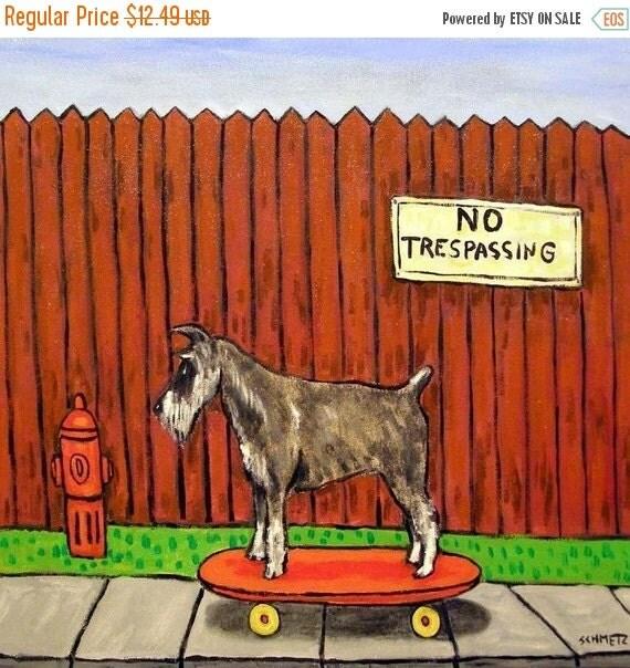 20 % off Schnauzer Riding a SkateBoard Dog Art Tile Coaster gift JSCHMETZ modern FOLK  POP art artwork