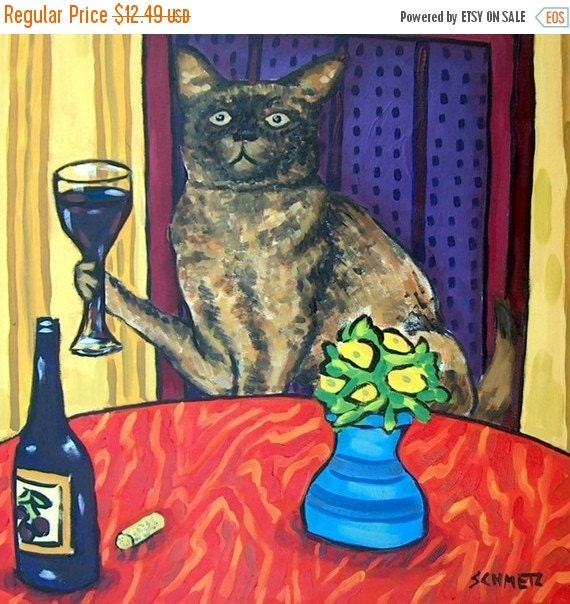 Burmese Cat at the Wine Bar Animal Art Tile Coaster