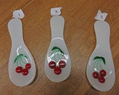 Cherry Spoon Rest - Handcrafted  Fused Glass Spoon Rest - Glass Cherry Spoon Rest for the Kitchen